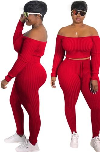 Güz Seksi Kırmızı Kaburga Kapalı Omuz Uzun Kollu Kırpma Üst ve Pantolon Takım
