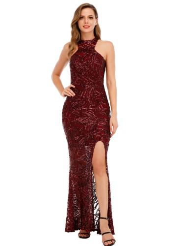 Summer Formal Red Sequin Scoop Neck Sleevelese Slit Evening Dress