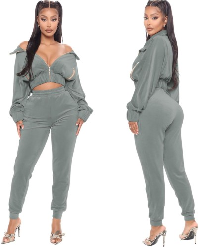 Fall Sexy Gray Velvet Zipper Turndown Neck Two Piece Tracksuits