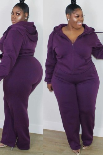 Fall Plus Size Casual Purple Long Sleeve Hoodies And Pant Set