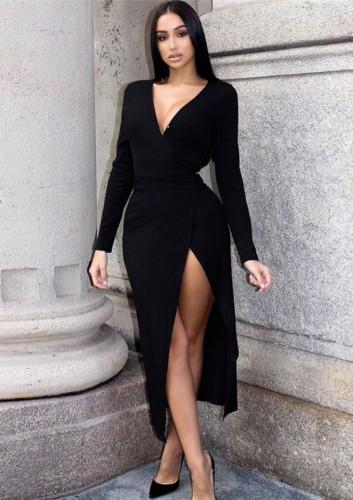 Herbst Sexy Schwarz V-Ausschnitt Langarm Schlitz Langes Kleid