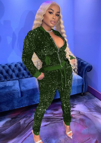 Winter Fashion Green Sequin Zipper Long Sleeve Top And Pant Set