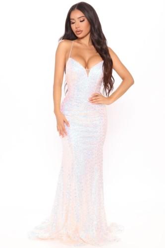 Summer Formal White Sequins Strap Evening Dress
