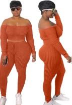 Herbst Orange Rib Off Shoulder Langarm Crop Top und Hosen Set