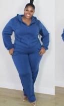 Herbst Plus Size Casual Blau Langarm Hoodies Und Hosen Set