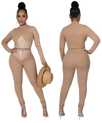 Pu Deri Fermuarlı Crop Top Ve Pantolon Takımlı Sonbahar Modası Kahaki