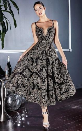Fall Elegant Black Full Floral Straps Skater evening Dress