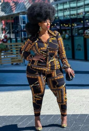 Fall Plus Size Retro Print Long Sleeve And Pant Matching Set