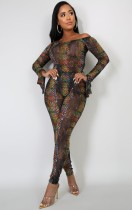 Herbst Sexy Multi Color Print Off Shoulder Langarm Body und passende Skinny Pants Set