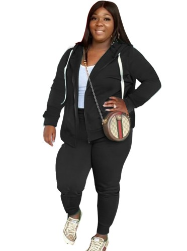 Fall Plus Size Casual Black Zipper Hoode Two Piece Tracksuits