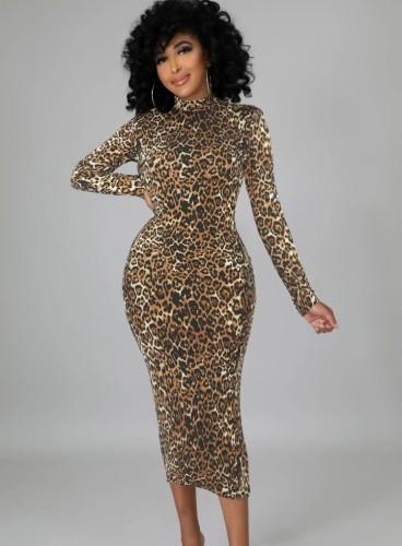 Herbstmode Leopard Print Langarm Stehkragen Langes Kleid
