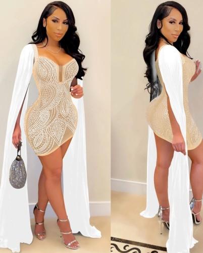 Uzun Kollu Kış Haki Boncuklu Seksi Mini Bodycon Elbise