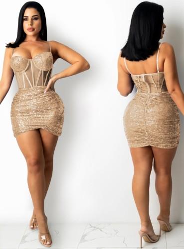 Yaz Altın Payetler Sapanlar Wrap Mini Parti Elbise
