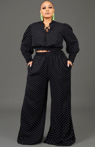 Herbst Plus Size Polka Dot Schwarzes Crop Top und Hosen Set