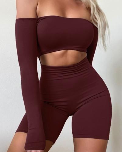 Herbst Burgunry Sexy Off Shoulder Crop Top und High Waist Shorts Set