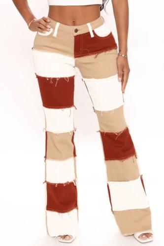 Jeans regulares con parche de color en contraste de otoño