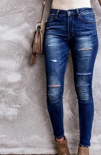 Jeans ajustados rotos azul otoño