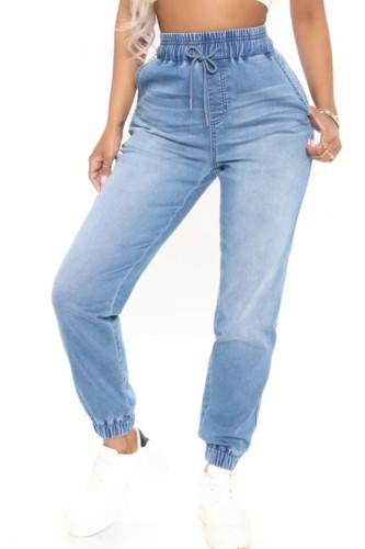 Pantalones vaqueros regulares con cordones azules de cintura alta de otoño