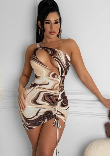 Sommer Print Cut Out One Shoulder Ruch Strings Minikleid