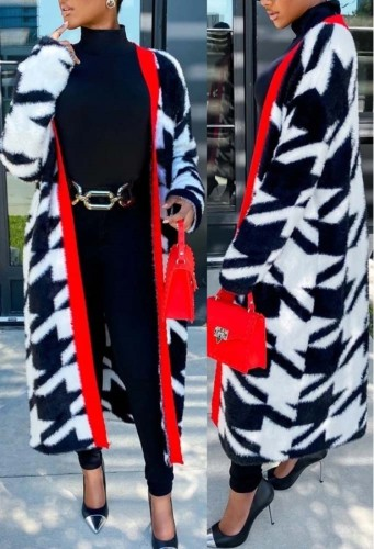 Winter White and Black Print Long Cardigans