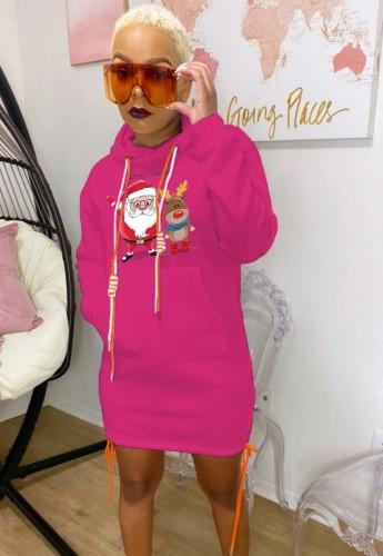 Noel Baba Baskılı Gül Noel Kapüşonlu Elbise