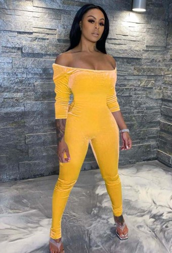 Winter Yellow Off Shoulder Fitted Velour Jumpsuit