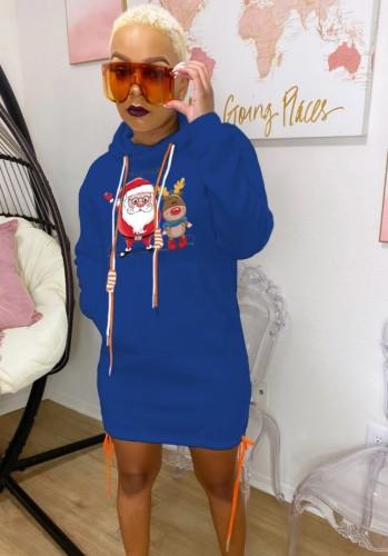 Noel Baba Baskılı Mavi Noel Kapüşonlu Elbise