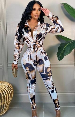 Sonbahar Klasik Desenli Bluz ve Pantolon Takım