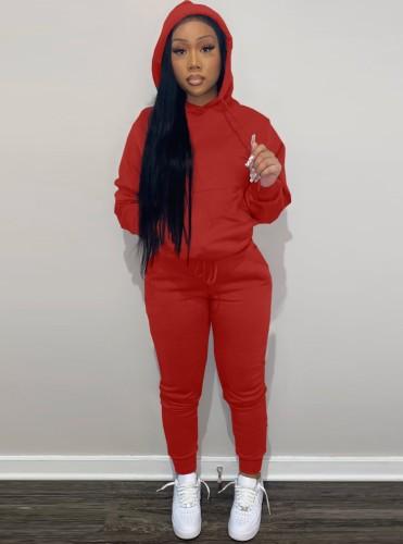 Winter Roter Langarm Sweatsuit mit Kapuze und Tasche