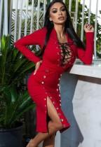 Vestido de fiesta rojo con abertura lateral con cordones sexy de otoño