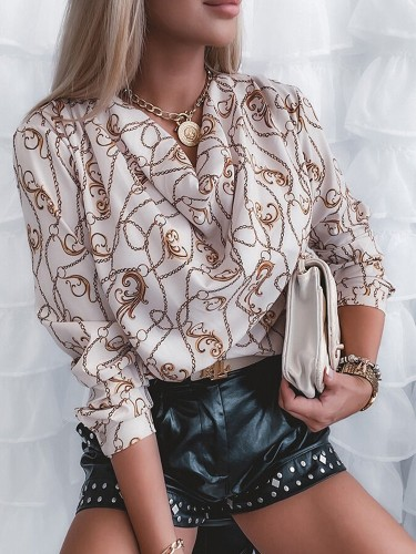 Autumn Classic Chains Print Long Sleeve Formal Blouse