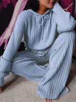 Winter Knitting Blue Hoody Top und Hose 2PC Lounge Set