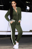 Winter Striped Green Velour Tracksuit