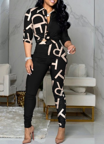 Sonbahar Klasik Desen Retro Düğümlü Bluz ve Pantolon Takım