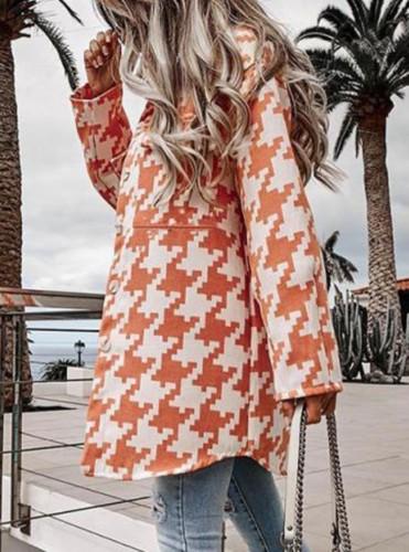 Orange lange Bluse mit Herbst-Print und Taschen