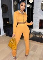 Herbst Orange Kurzes Oberteil und Hose mit Kapuze Trainingsanzug