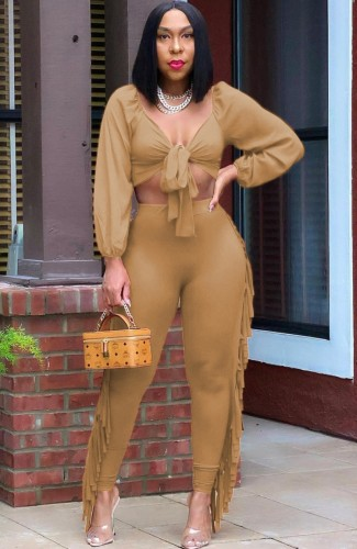 Autumn Party Sexy Khaki Knotted Crop Top and Ruffles Pants Set