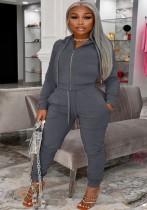 Winter Plus Size Grau Reißverschluss Hoodies und Hosen 2-teiliger Trainingsanzug
