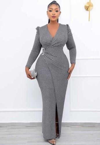 Winter Formal Black Stripes Wrap Long Evening Dress