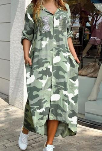 Herbst Casual Camo Print Langes Blusenkleid mit Paillettentaschen