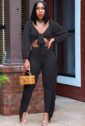 Autumn Party Sexy Black Knotted Crop Top and Ruffles Pants Set
