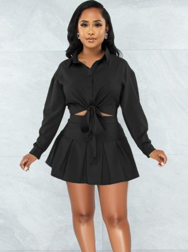 Autumn Casual Black Knotted Blouse and Pleated Skirt Set