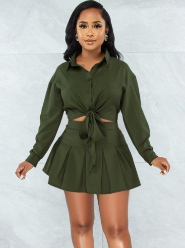 Autumn Casual Green Knotted Blouse and Pleated Skirt Set