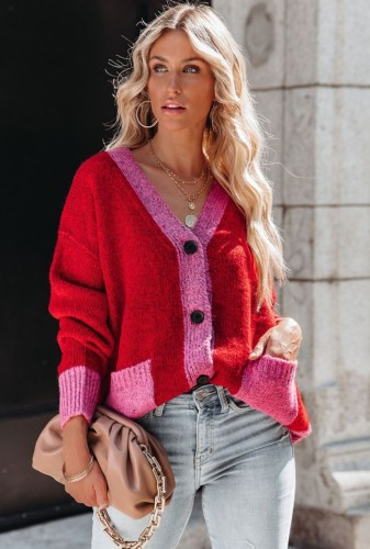 Winter Contrast Color V-Neck Sweater Coat with Pockets