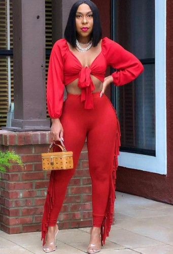 Autumn Party Sexy Red Knotted Crop Top and Ruffles Pants Set