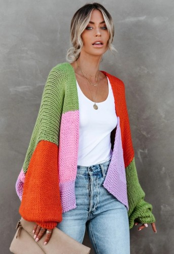 Winter Contrast Color Puff Sleeve Sweater Cardigans