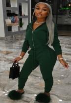 Winter Plus Size Grüner Reißverschluss Hoodies und Hosen 2-teiliger Trainingsanzug
