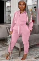 Winter Plus Size Zipper Hoodies und Hosen 2-teiliger Trainingsanzug