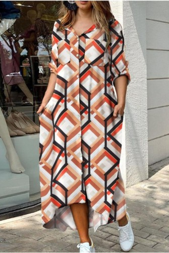 Autumn Casual Geommetric Print Long Blouse Dress with Sequin Pockets