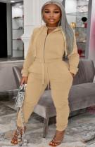 Winter Plus Size Khaki Zipper Hoodies und Hosen 2-teiliger Trainingsanzug